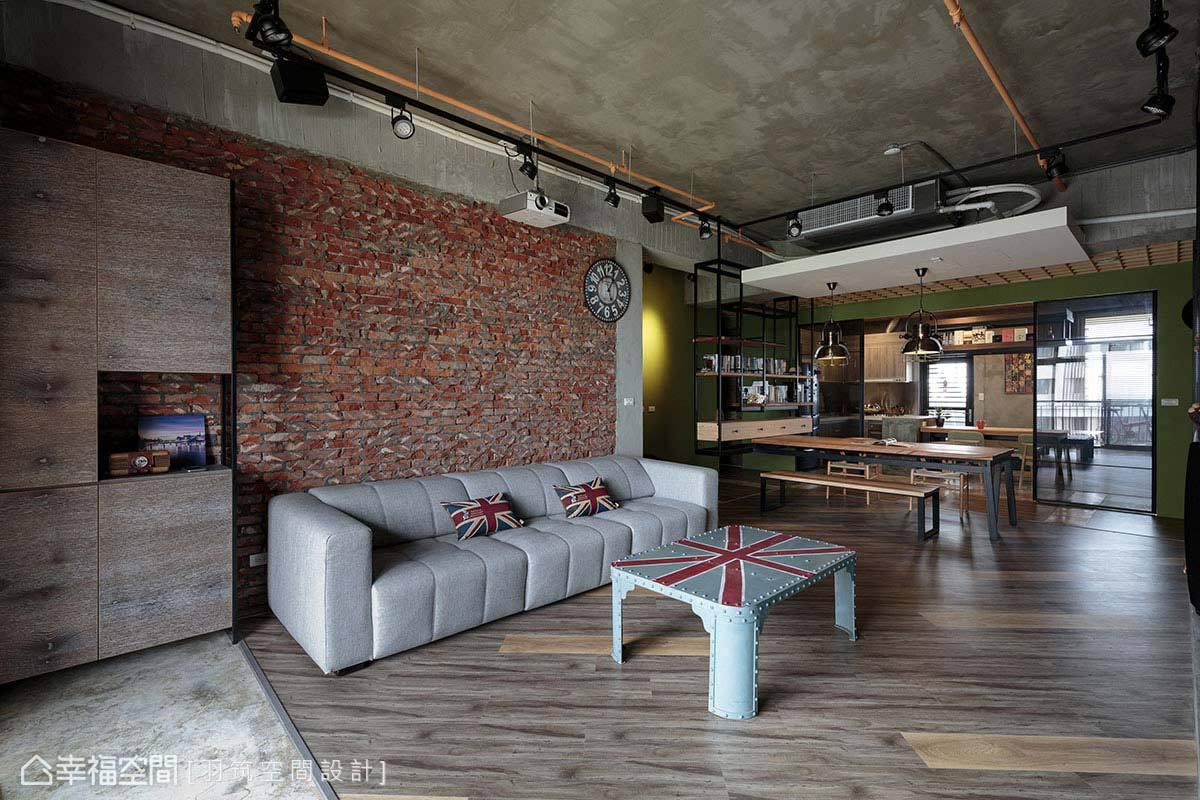 剔除覆蓋的水泥,運用原先使用的隔間紅磚,營造出裸露的粗獷感。
