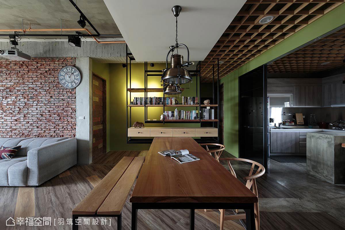 連接私領域的閱讀區壁面覆以綠色油漆,平衡空間的冷調,多了些活潑。