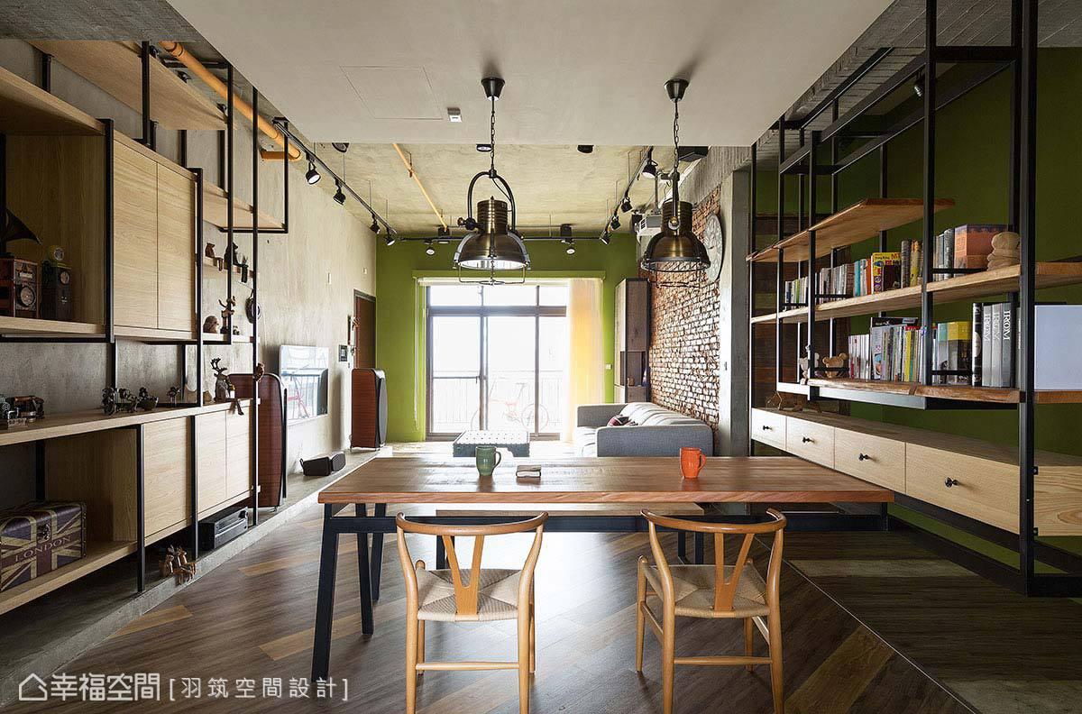 吊櫃與工作桌一體成型,兩兩相對的吊櫃設計相呼應,展現出懸空的飄浮視感。