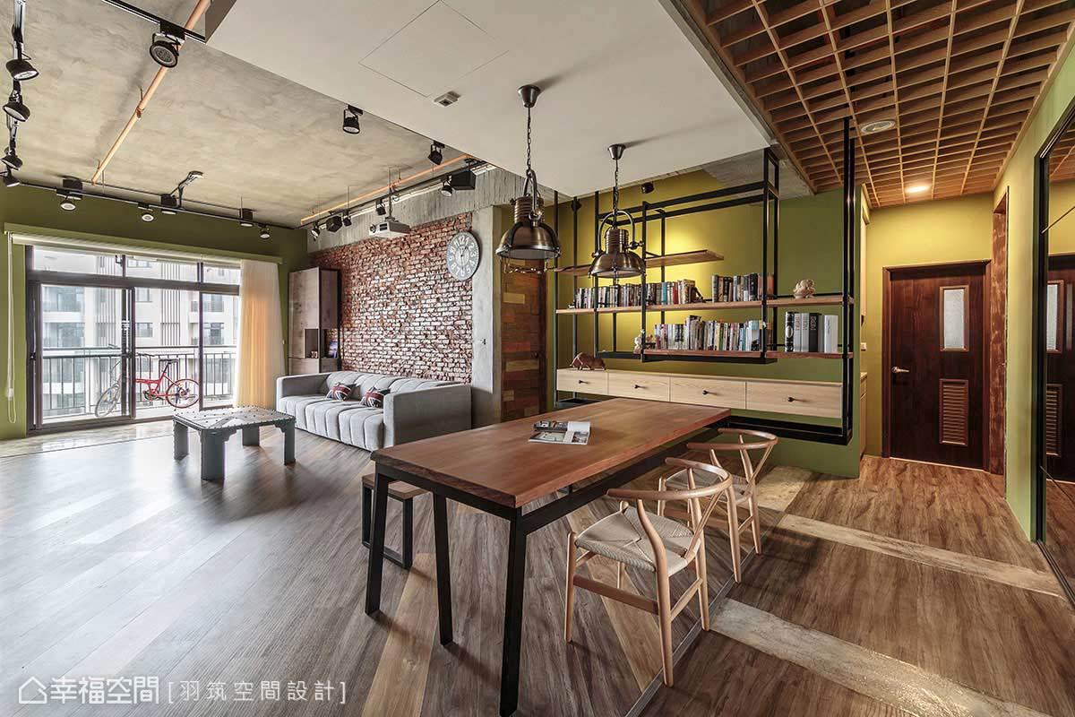 天花板使用格柵設計,地坪也透過木質與粉光水泥搭接,區隔出段落。