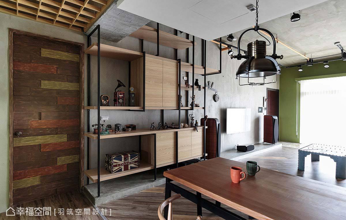 空間內門片以實木打造,為避免視覺上過於制式,運用上漆手法呈現出豐富的色塊。
