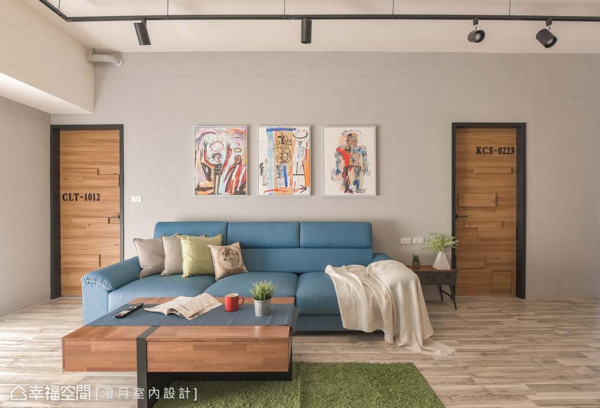 在淡雅色系所框設出的簡約空間中,透過亮色系的家具軟件及活潑不呆板的畫作擺飾,讓整體空間在沉靜中帶有慧黠的活潑趣味。