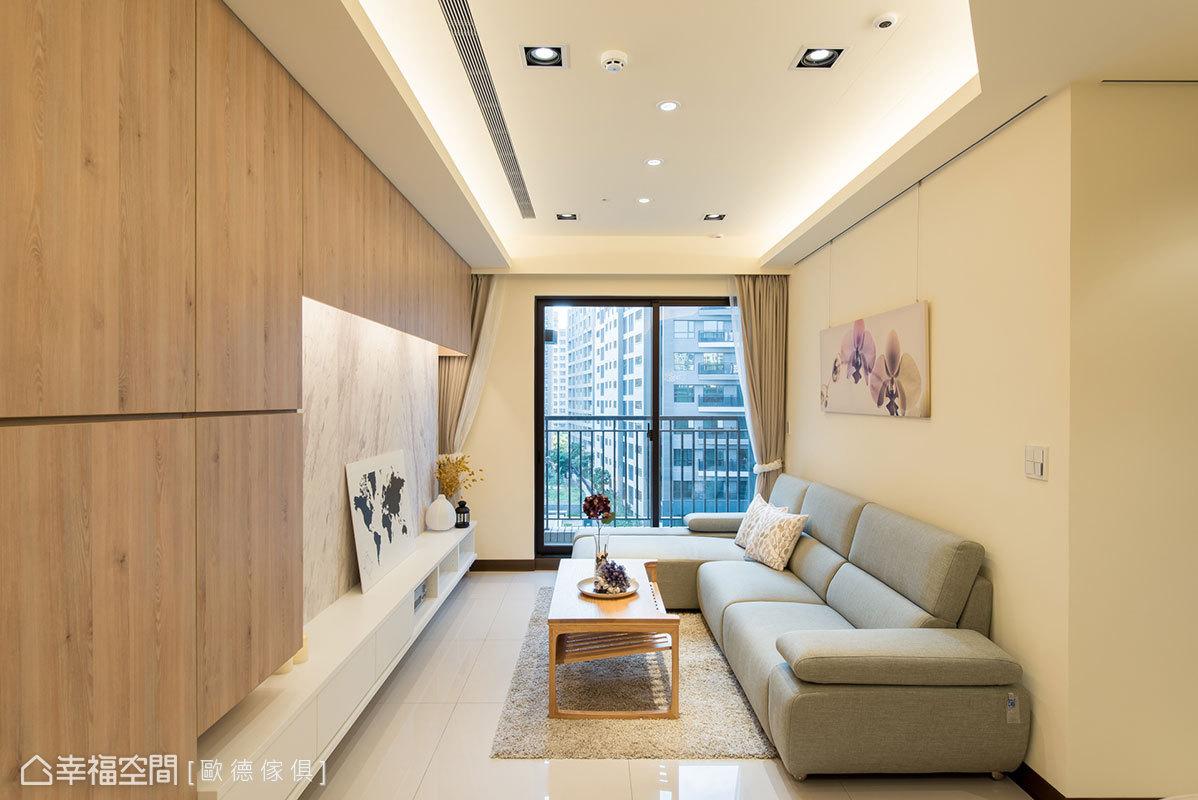 歐德傢俱設計團隊使用折線設計,讓天花板擺脫方方正正的造型,更具視覺張力和韻律感。