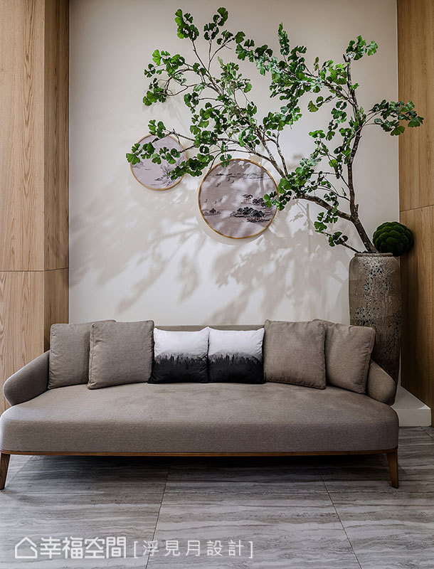 以綠意植栽注入自然元素,搭配山水意象裝飾空間,讓人文與自然相映成趣。