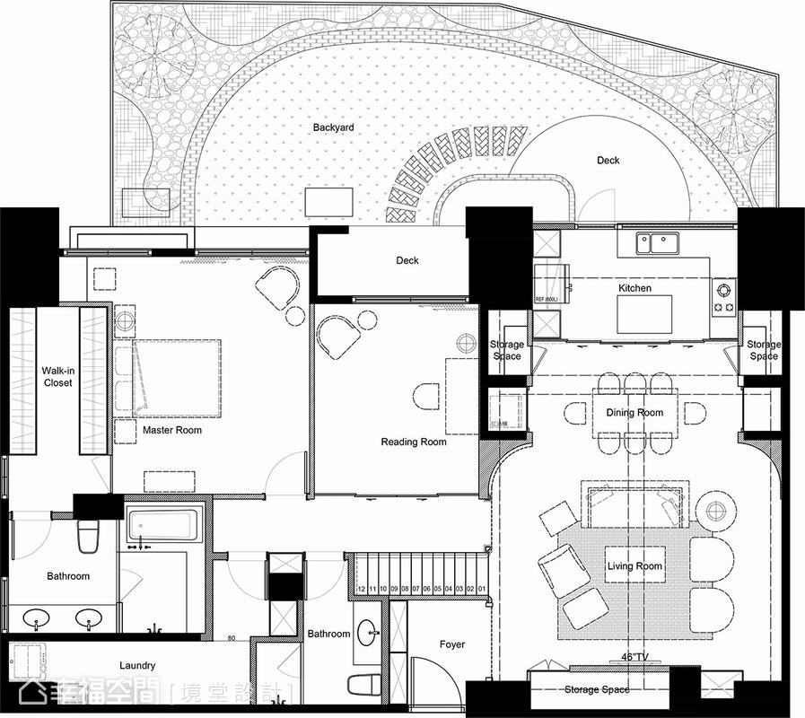 鄉村風格 挑高樓層 老屋翻新 境堂設計
