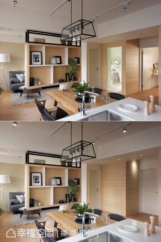 空間立面以垂直與水平的線條表現,並藉由隱藏門的設計維持立面乾淨清爽。