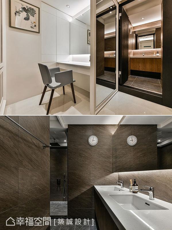 主衛以二進式設計先進更衣室再進衛浴,入口處壁面設置全身鏡方便更衣,搭配實用的乾濕分離配置,讓動線更符合實際生活需求。