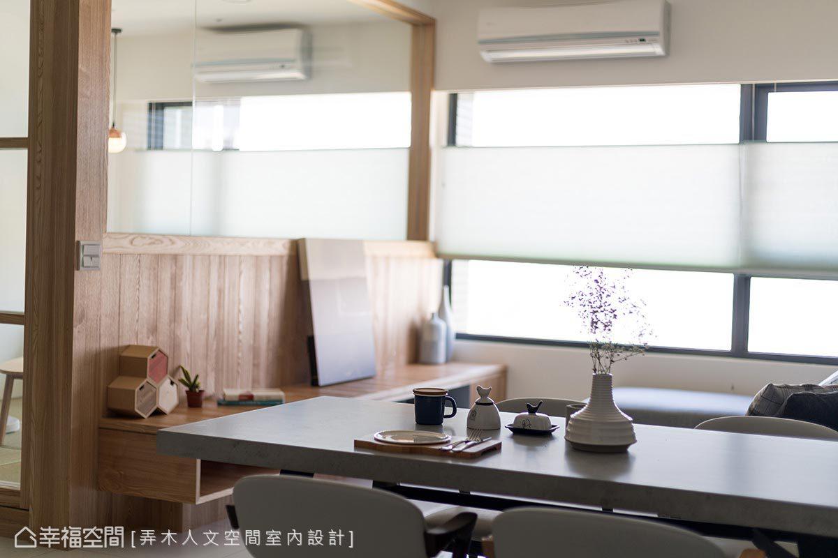 餐桌與中島檯面皆採石英薄板設計,硬度高、抗菌耐刮且不易吃色,可直接作砧板使用。