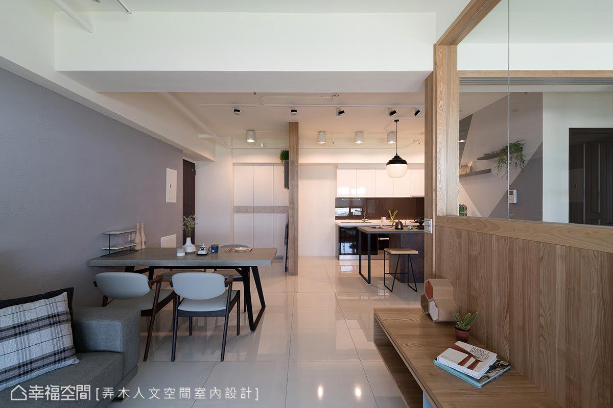背牆採日本珪藻土鋪敘自然質地,同時也具有除臭、調節濕度的功效。