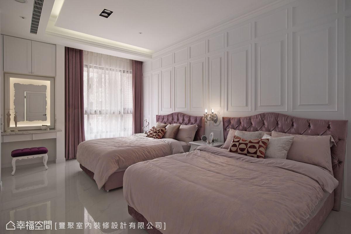由於屋主夫妻的睡眠習慣不同,因此設計師特別微調格局,從女兒房爭取了部份空間,使主臥的格局更加方正,放進兩張雙人床也不成問題。