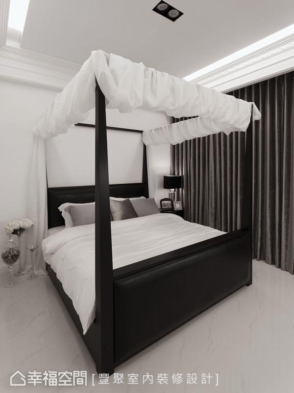 男孩指定的四柱大床及加寬窗簾,營造出國外別墅特有的休閒氛圍。