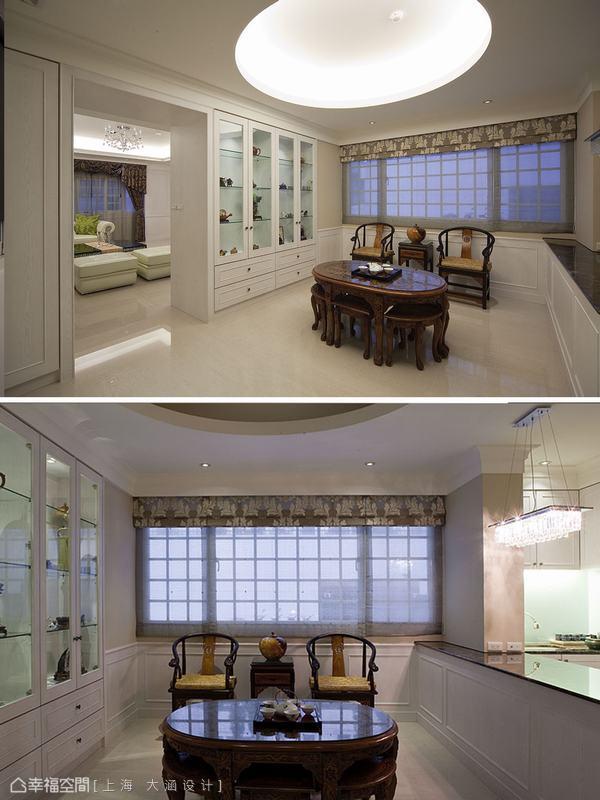 穿過拱門式的門斗是設計師為洗愛泡茶的屋主規劃閱讀休息室,雙面櫃在休息閱讀室的這一端是收納、展示櫃。