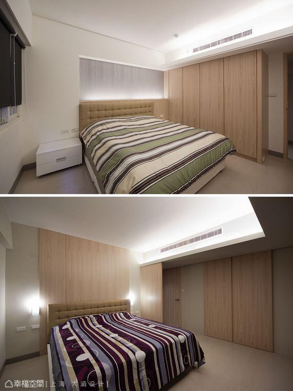 兩間男孩房,都是用天然木皮加上每個空間各有的壁紙來呈現。
