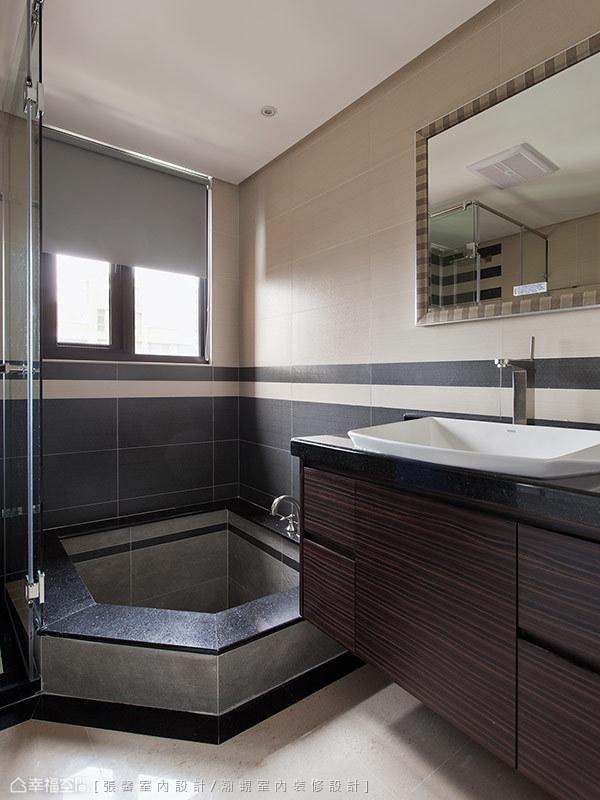 降板石砌浴缸的規劃,在家即能享有舒適泡湯享受。