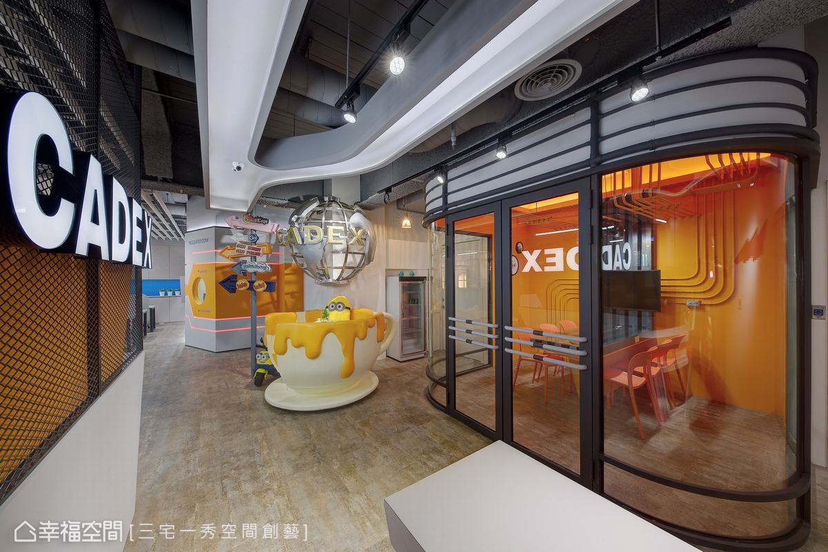 跳脫傳統辦公格局的思維,咖啡杯與上方地球儀的擺設,為整體空間增添活潑色彩與童趣元素。