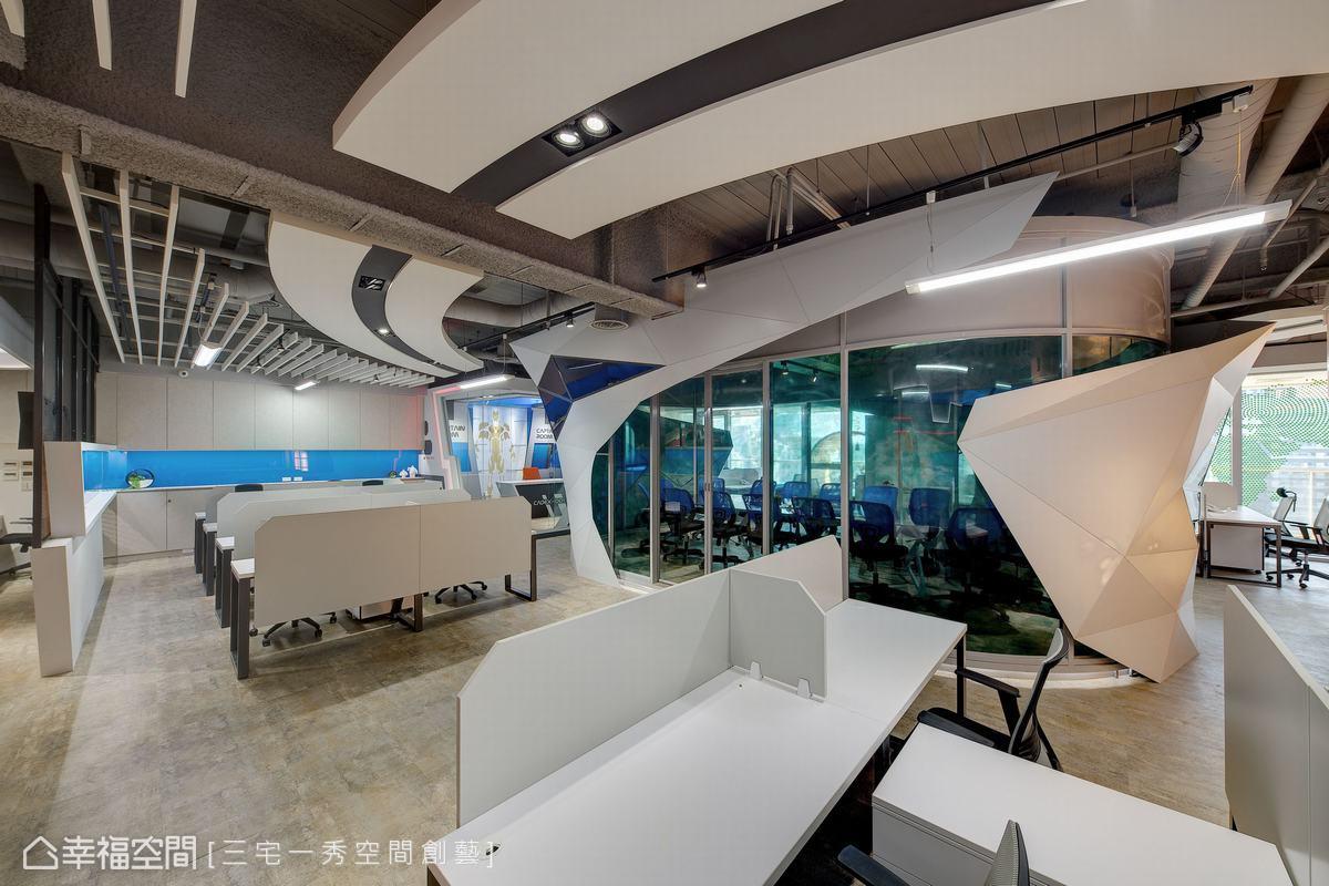 由三宅一秀空間創藝設計師團隊發揮無限創意,將超時空科技感的圓弧線條與完美比例,置入辦公空間中。