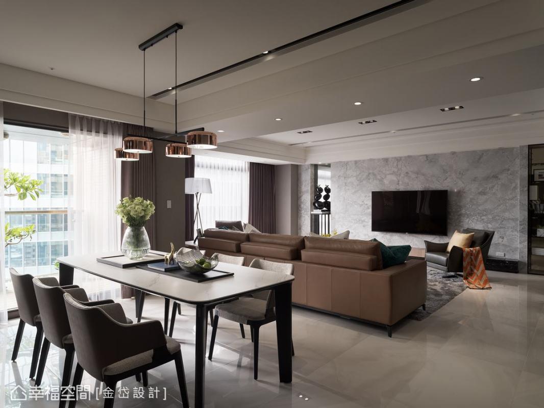 金岱設計將開放式公領域的寬敞明亮感完美應用在空間中,以各種質感家具演繹品味中的美好。
