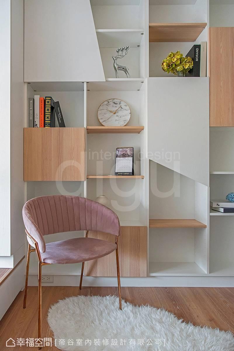 利用不規則切割形塑俐落率性印象,但木質及白色層板的搭配,又給人清新透亮的溫馨感。