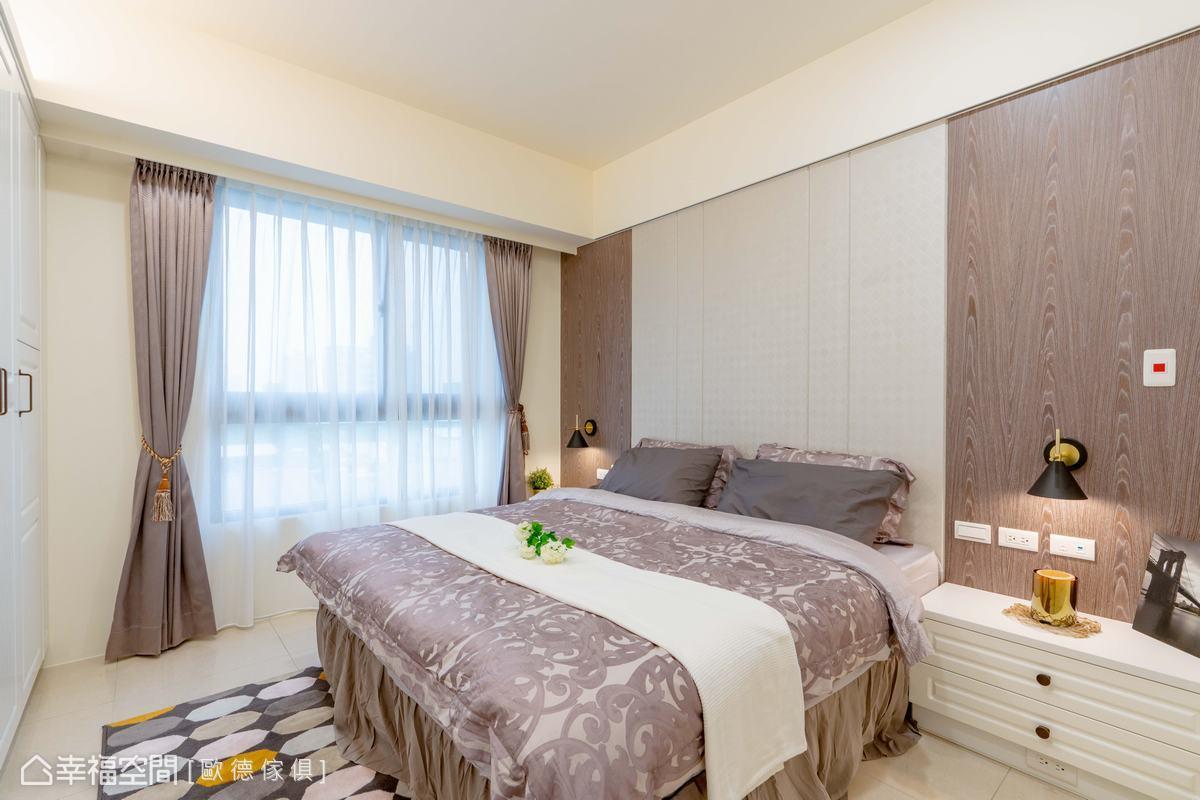 背牆以壁紙及木質拼接,創造宛若繃布的質感,呈現令人玩味的個性風貌。