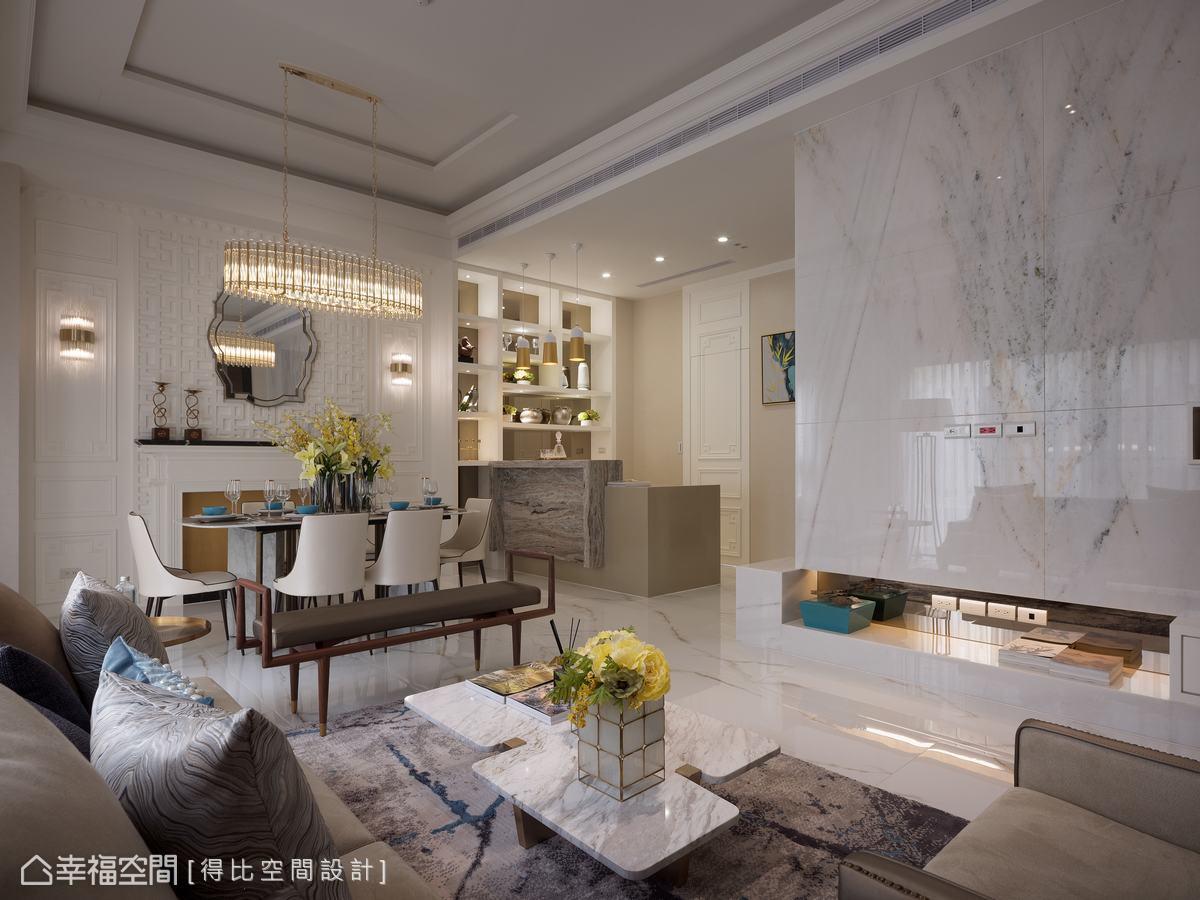 以米、白、金為空間基調,並採用自帶細膩紋理的石材鋪敘地坪及牆面,增添視覺豐富度,展現清新脫俗之美。