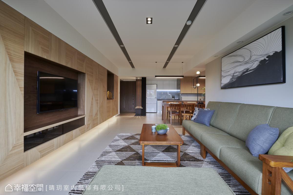 客廳與餐廳置於同一軸線,呈現軒敞無壓力的通透空間感。