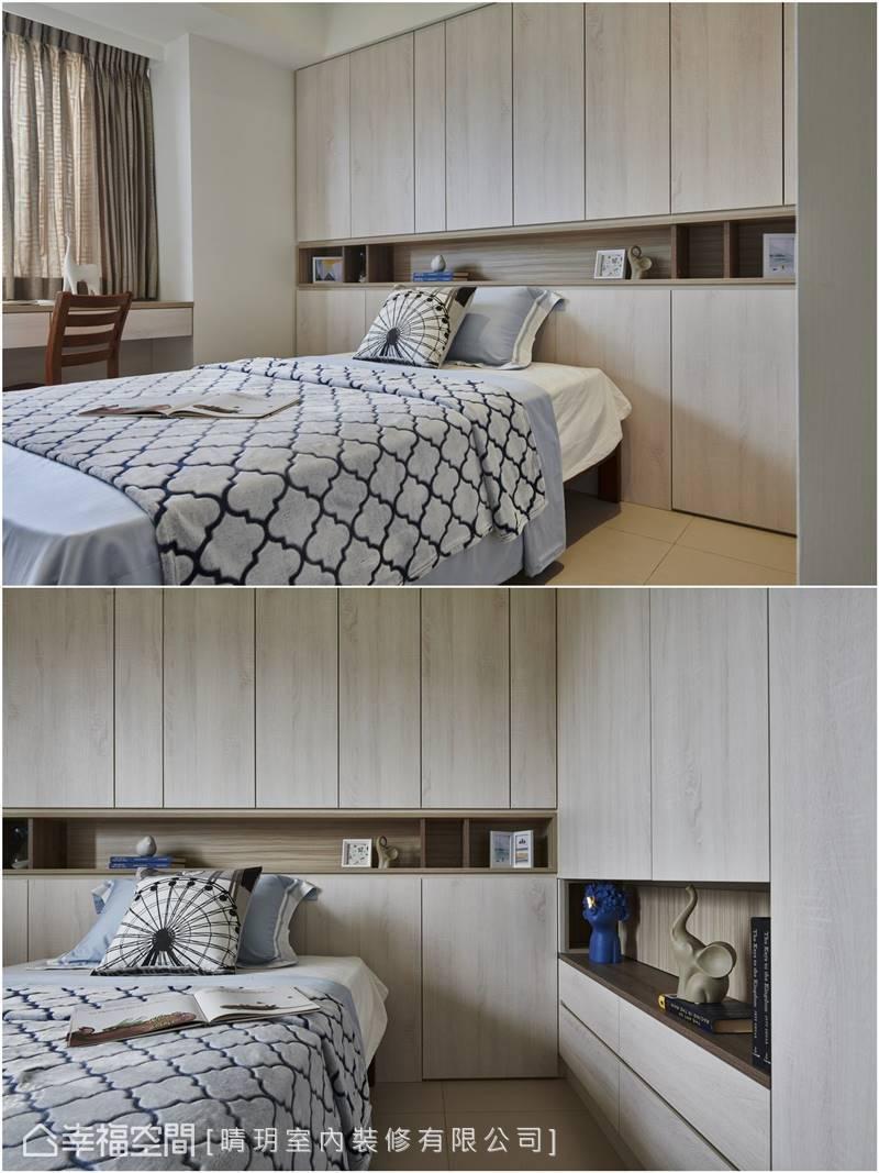 淺色木質門片訴說輕盈活潑語彙,充足的收納空間維繫簡潔明亮的空間感。
