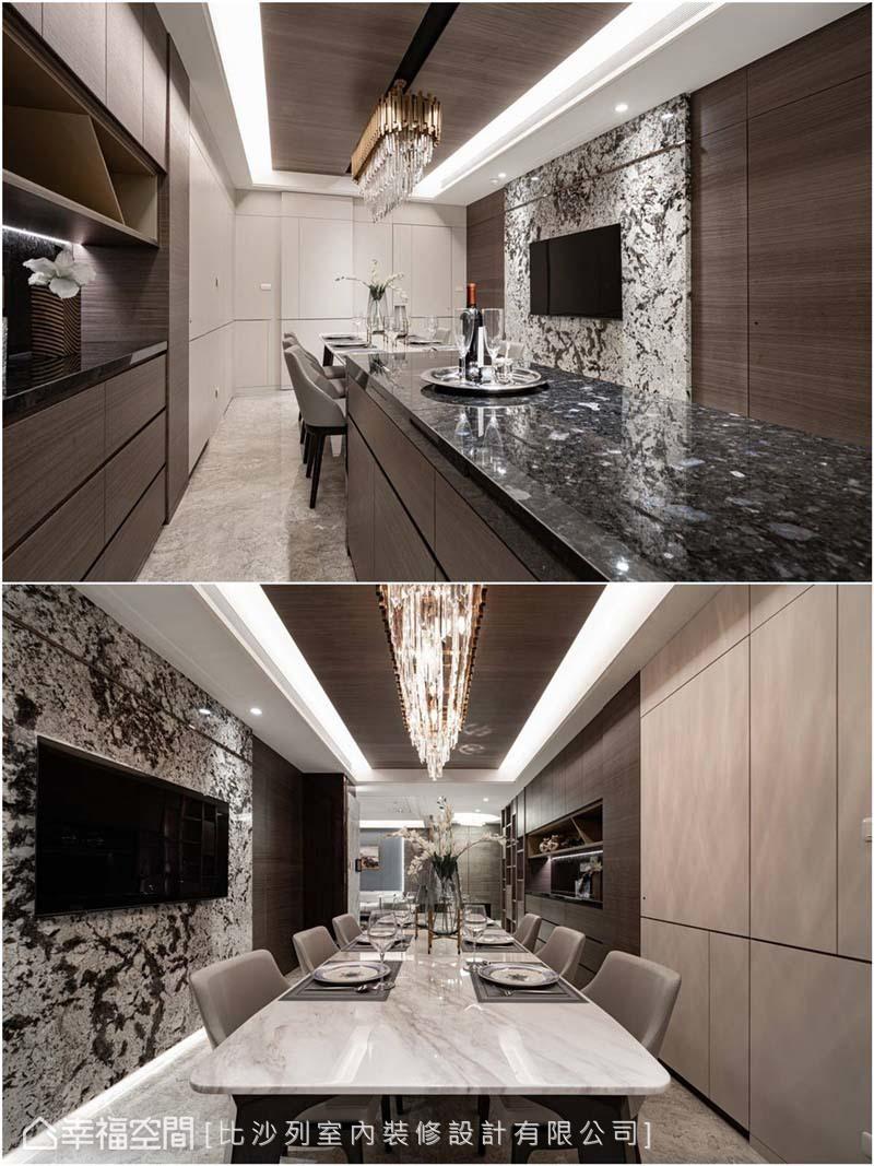 黑色大理石吧台、白色長餐桌延伸視覺比例,拉闊空間垂直、水平軸線,構築深邃軒敞的大氣感。
