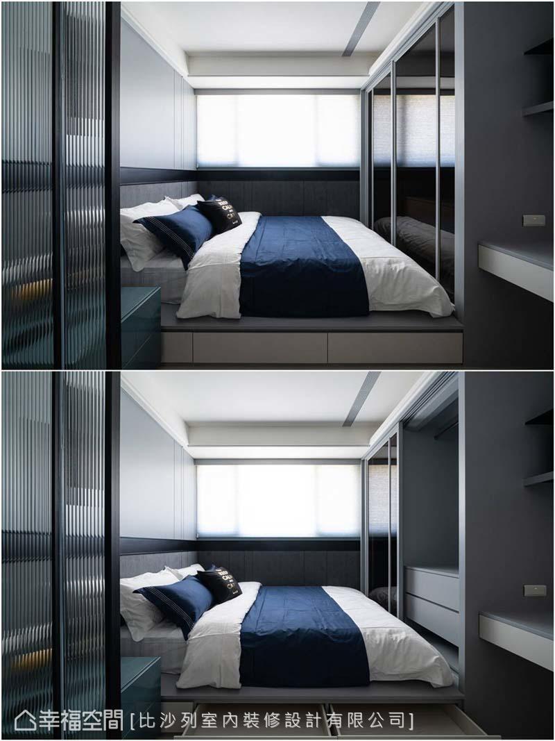 利用玻璃及茶鏡放大空間,並植入臥榻及大衣櫃最大限度擴展收納容積。
