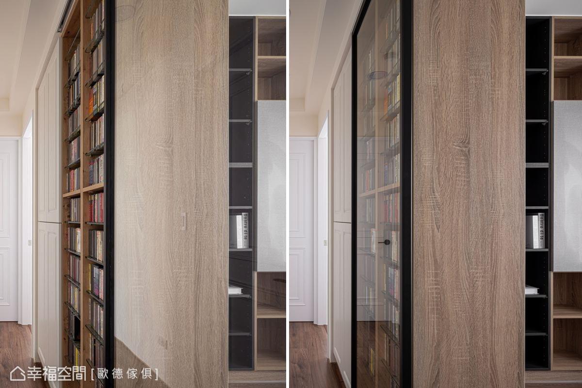 書房牆面以櫃體隔間,植入大面CD櫃,特製同寬清玻推拉門,隔絕噪音,房門推開成為CD櫃的門片,典藏展示屋主鍾愛的古典樂唱片。
