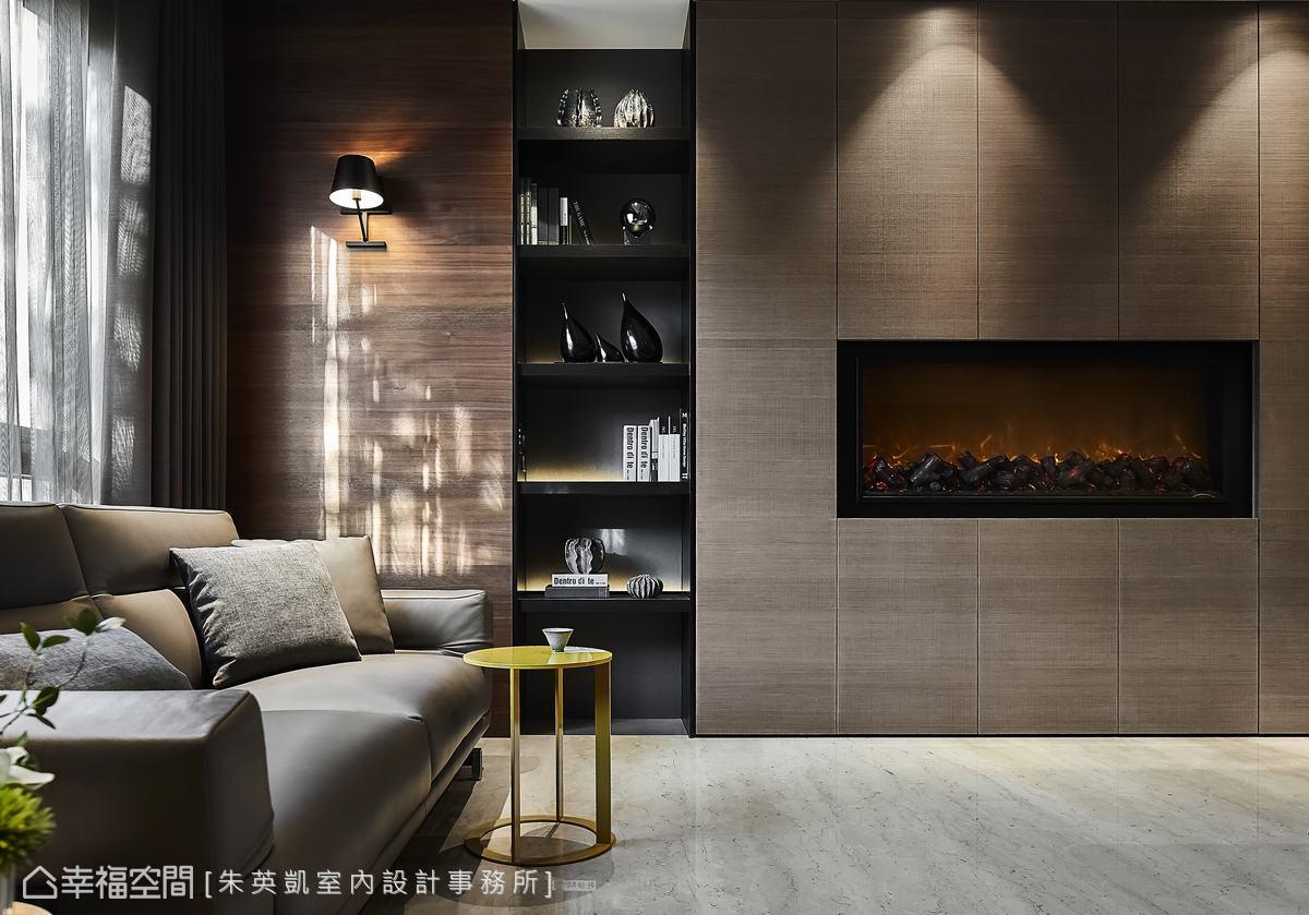 有如水墨暈染出的線條肌底,呈現空間的律動感,牆面鑲嵌了電子壁爐凝聚一家人的溫度。