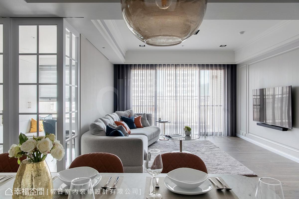 本案以美式風格減去一些線條、再少點色彩,增添生活空間留白、多些靜謐安穩感。