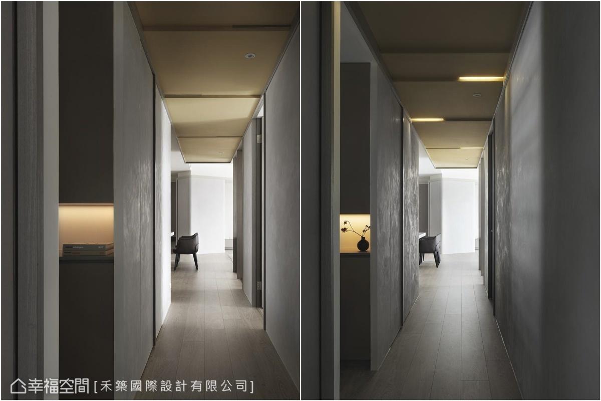 鵝黃色的降板天花搭配燈盒,呈現輕快韻律感,形塑轉換機能和心情的橋樑。