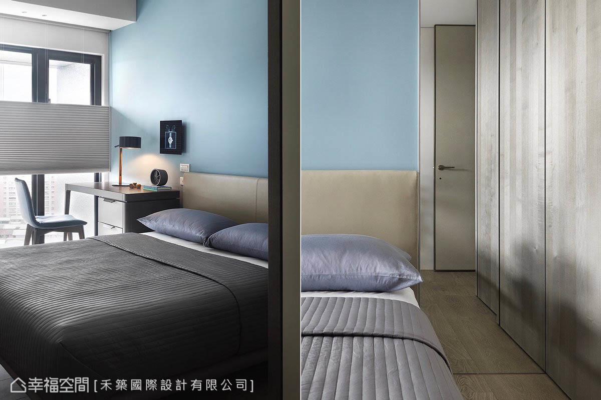 淺藍色與白色交織出安定沉澱的寢臥環境,走道大鏡面兼具修整儀容及放大空間感的雙重機能。