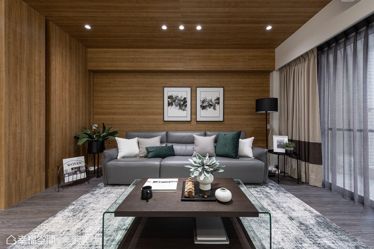 透過跨領域的木質鋪陳,延展出視覺廣度,更消弭了梁柱的突兀感,氤氳悠然舒適的居家氛圍。