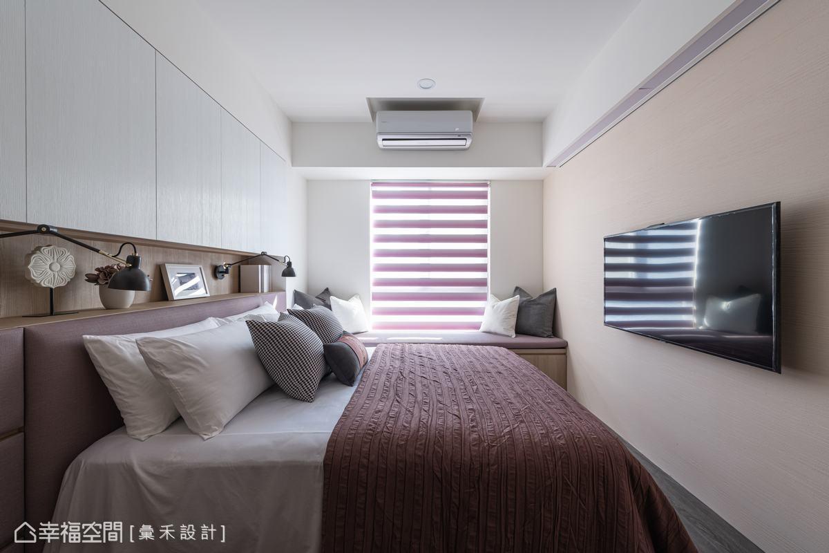 柔和的米色搭配紫藕色交織浪漫柔情,塑造出雍然恬淡的舒眠環境。