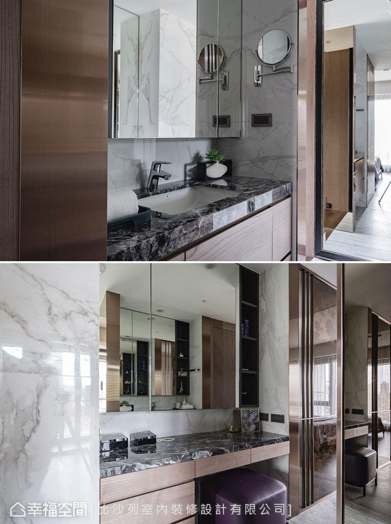 通往更衣室的廊道規劃梳妝台及洗手台,讓每一寸空間都擁有完整機能,提升空間坪效。