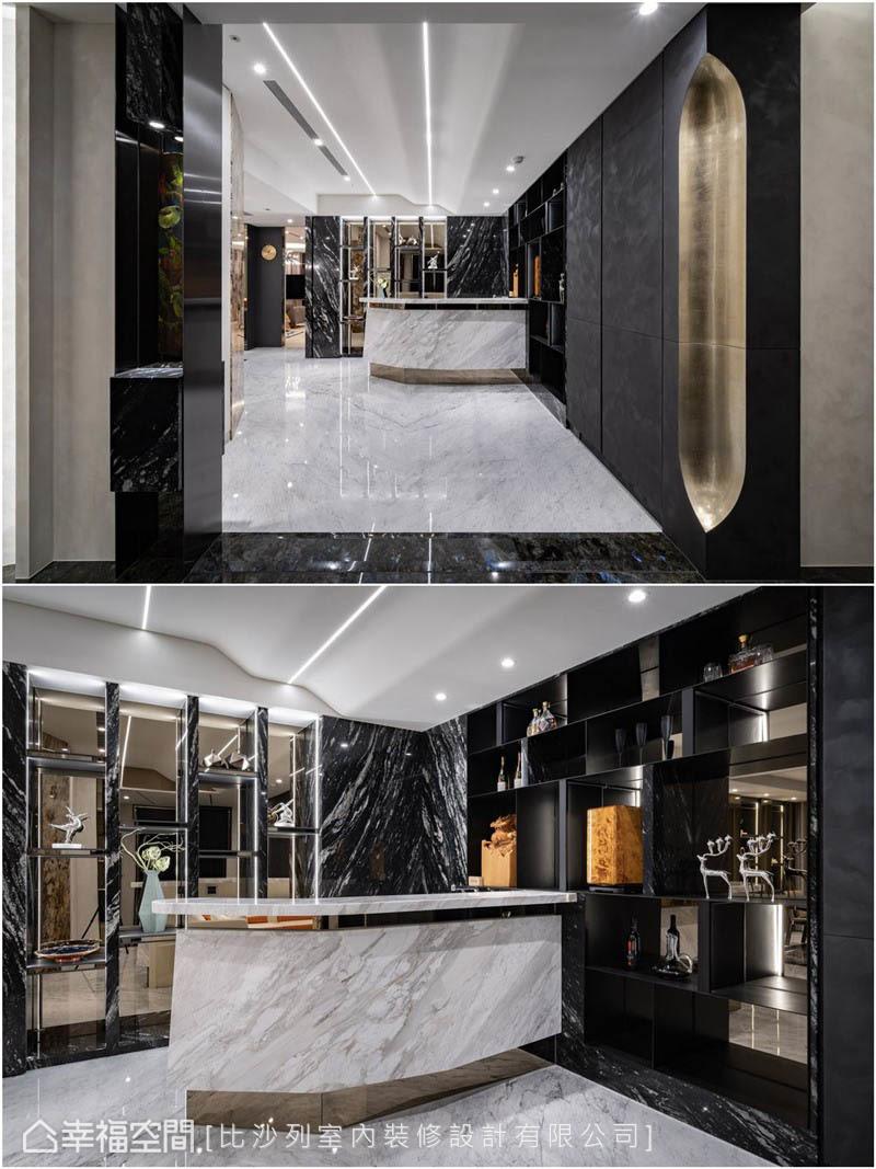 經過燦金轉折面,映入眼簾的是特殊漆塗刷的櫃體、鑽石切割吧台及鏡面底展示架,預示著內部的璀璨華麗。