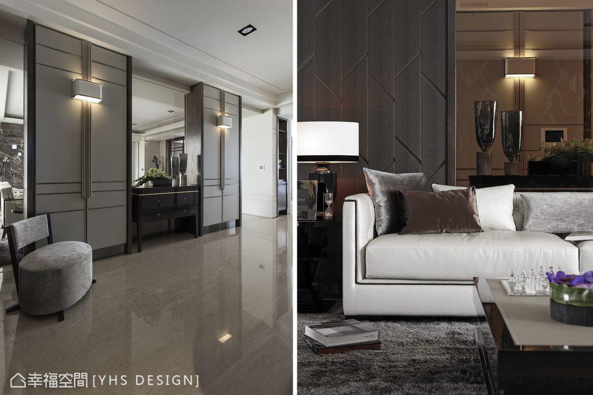 與沙發背牆共用牆面,同樣的收納單元夾敘穿透性的玻璃材質,於端景櫃的後方借景電視主牆,延伸空間景深層次,同時成為沙發後方的美麗風景。