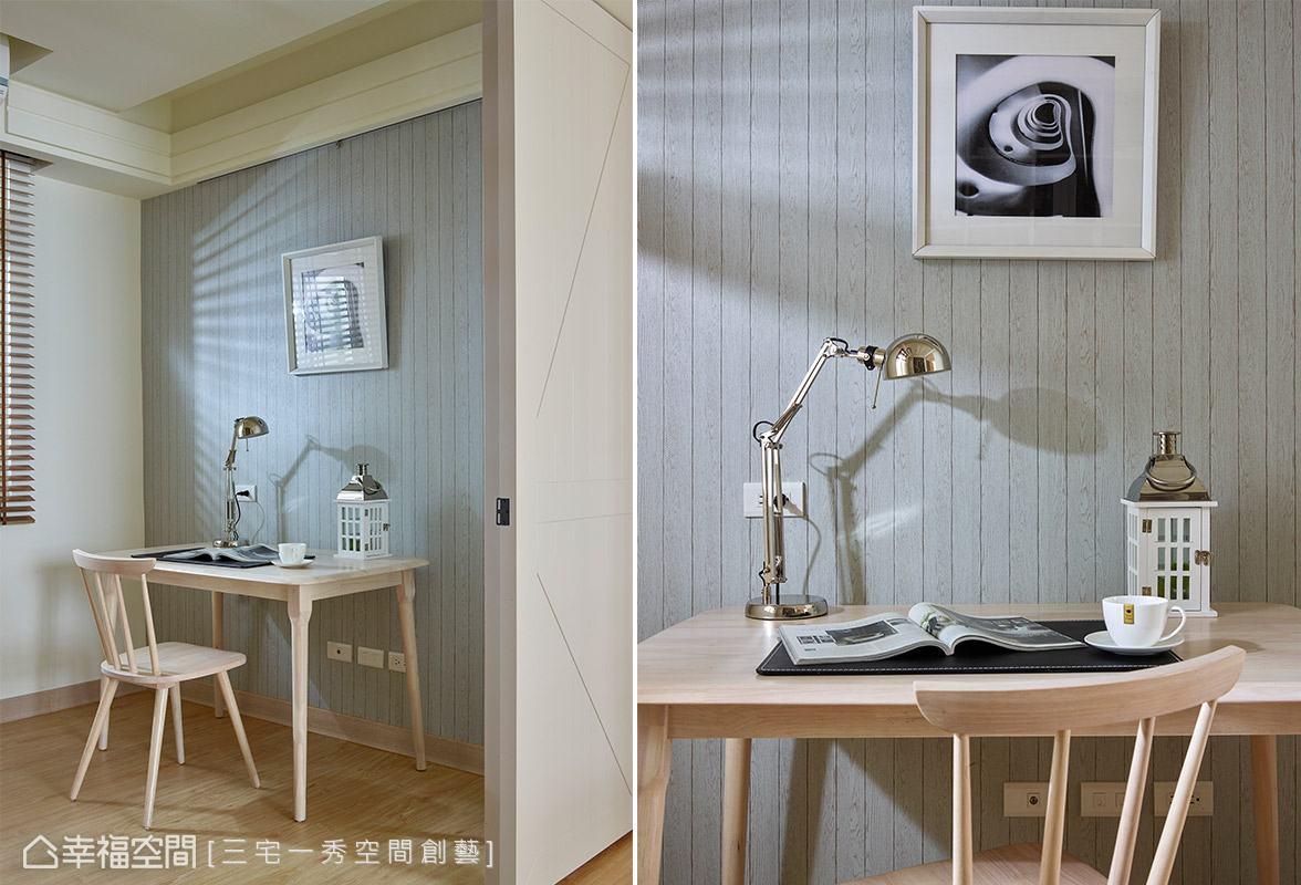壁面鋪貼木紋款式壁紙,隨意搭配藝術掛畫,即可輕鬆創造耐人尋味的質感與品味。