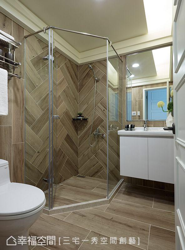 延續木質主題元素,採用木紋磚鋪陳地坪與壁面,透過不同的拼貼手法,豐富場域的視覺層次。